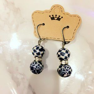 Blue and White Leverback Earrings
